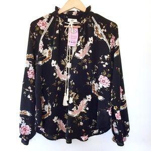 Entro Black Pink Floral Bird Tassel Blouse Top S